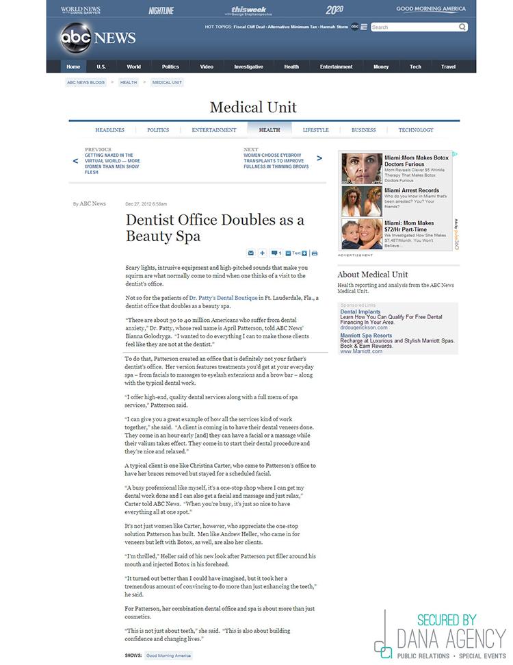 Dr. Patty on ABC.com, December 27, 2012